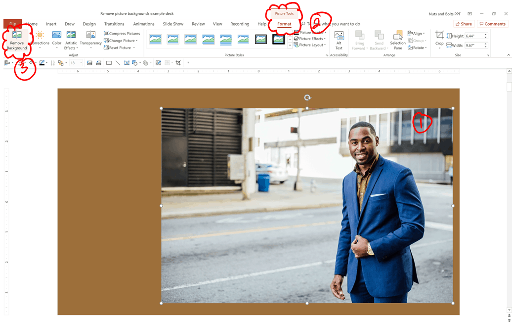 To remove a complicate background in PowerPoint, you need to use the Remove Background command from the Picture Tools Format tab
