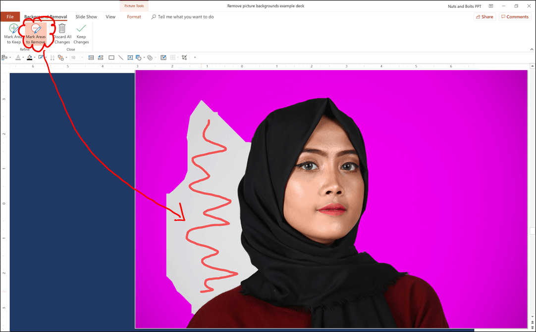 Use PowerPoint's Mark Areas to Remove feature to mark parts of your image that you want to remove from your photo