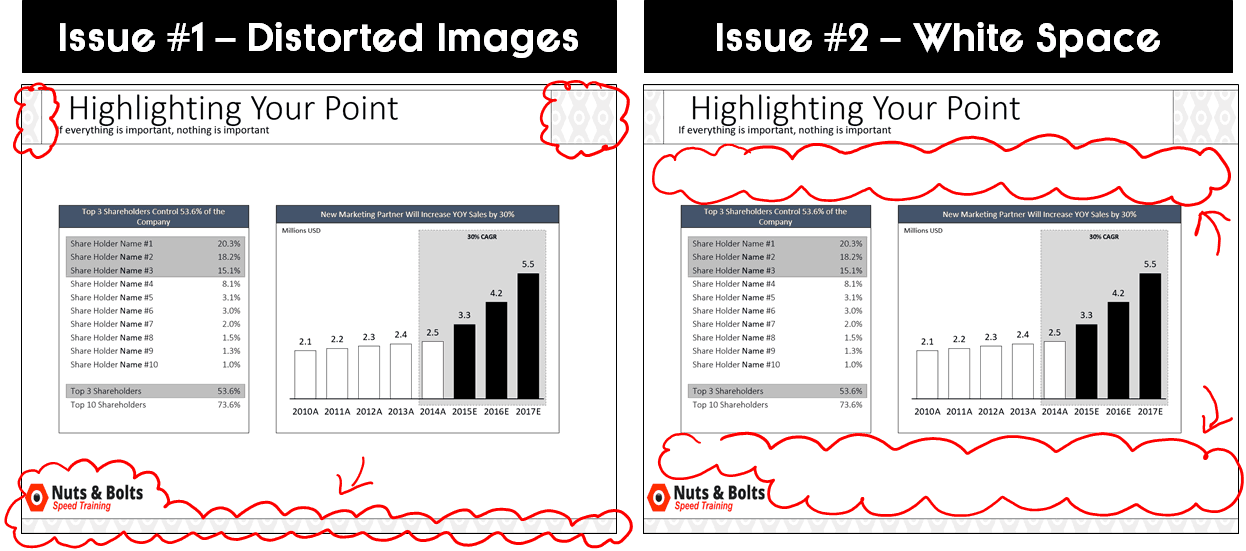 Converting from 4:3 to 16:9 using Ensure fit will scrunch up all of your slide master images and leave you with white vertical space to fill in on your slide