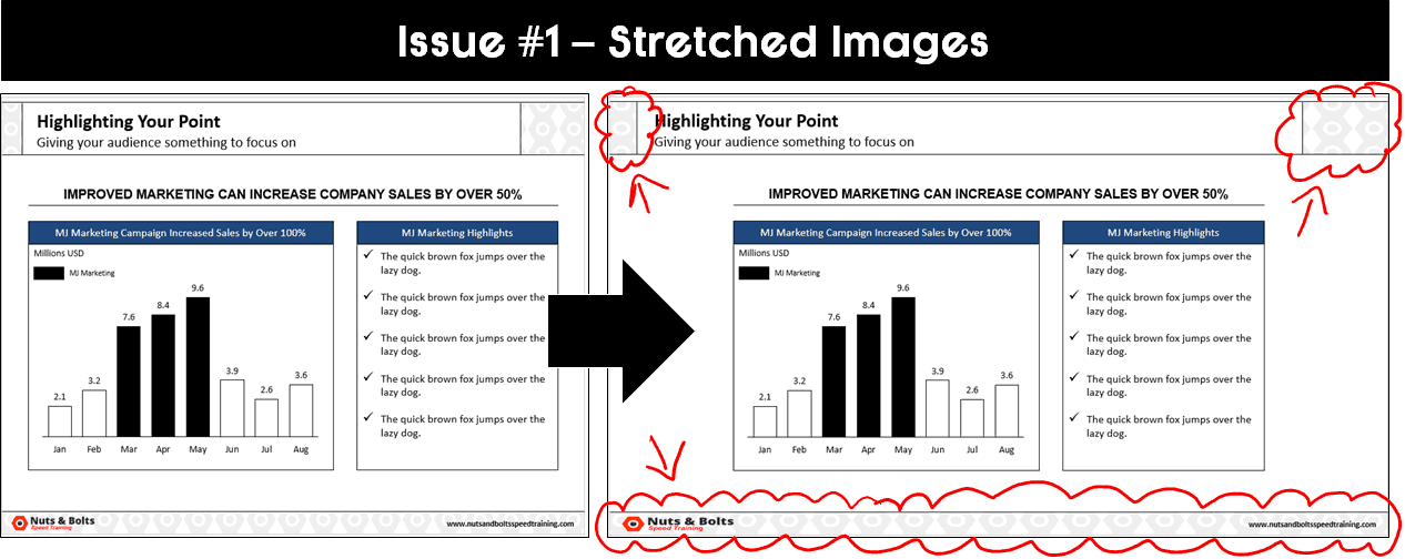 When converting from 4:3 to 16:9 the images on your slide master will stretch
