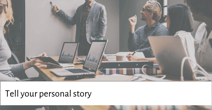 Picture of someone presenting for telling your own personal story