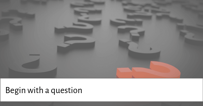Picture of question marks for asking your audience a question at the beginning