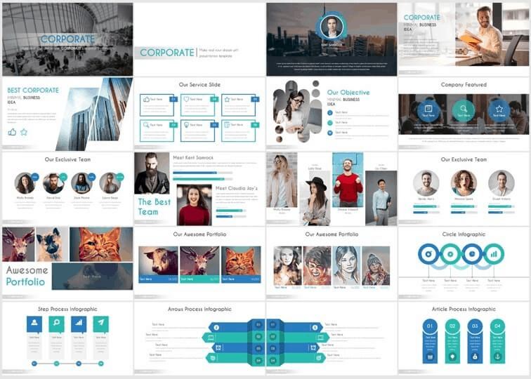 Example slides from the business casual PowerPoint template by slidecow