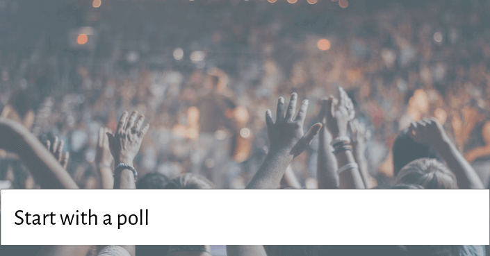 Picture of people raising their hands for kicking off your presentation with a poll or survey