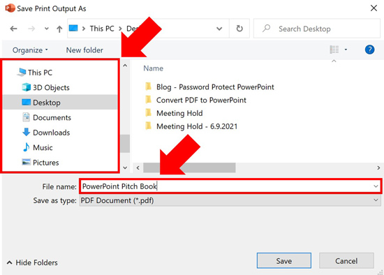 Choose a location to save your PDF on your computer and a name for your new file
