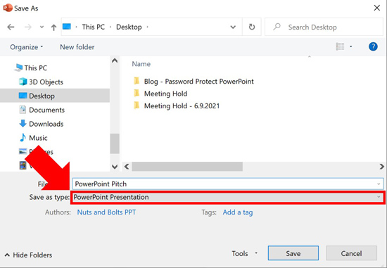 Open the Save As type dropdown in the Save As dialog box