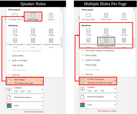In the Print Layout options, choose either the Notes Page or select multiple slides per page