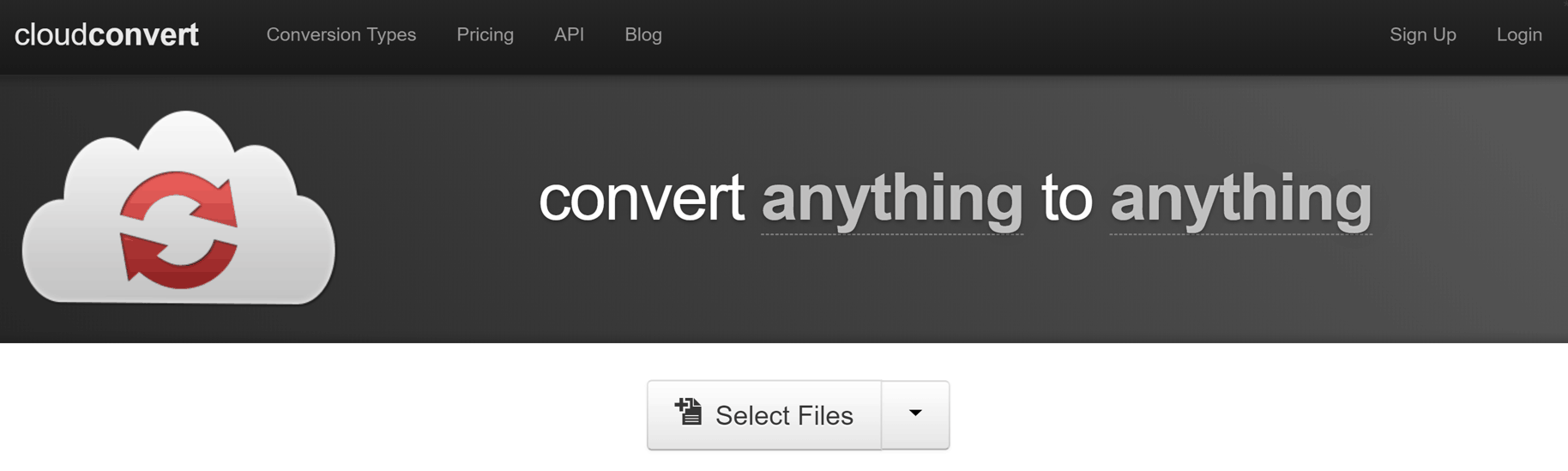 A visual of the cloud convert website