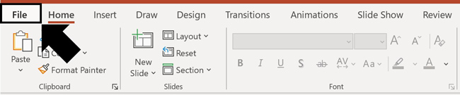 Click the File tab in PowerPoint to open the backstage view