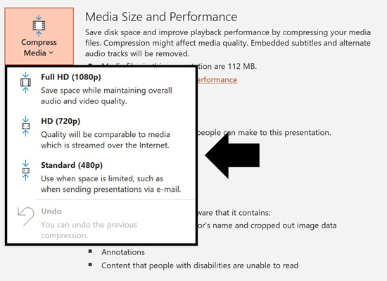 Choose how much you want to compress your videos and other media files within your PowerPoint presentation