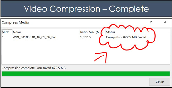 Example of how much space you can save by compressing videos in PowerPoint