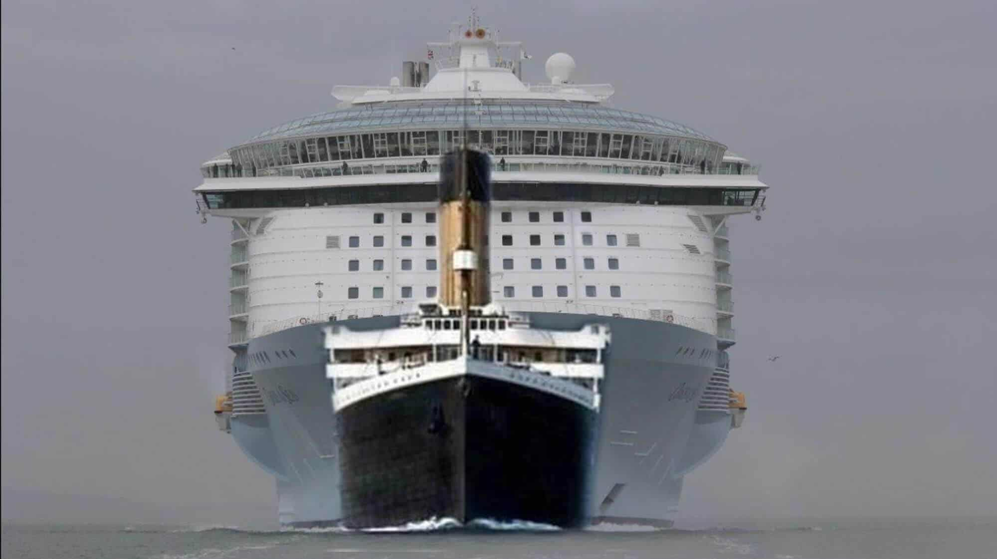 Picture of the titanic dwarfed by a larger cruise ship, the allure of the seas