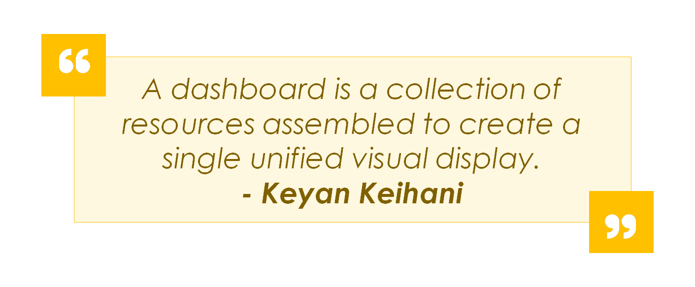 Picture of a quote by Keyan Keihani about dashboards