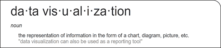 Data visualization definition: the representation of information in the form of chart, diagram, picture, etc.