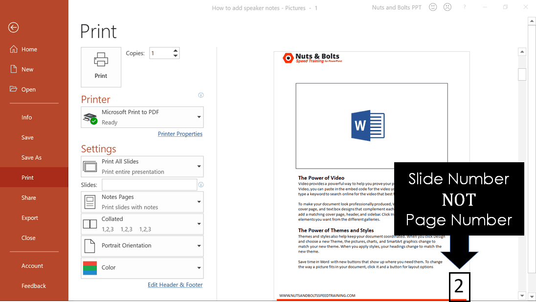 When printing your Notes Page, the number at the bottom of the page is the Slide Number the speaker notes are on, not the page number that printed