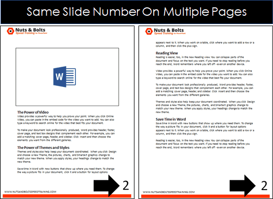 Example showing that the slide number of the speaker notes is displayed when printing, not the actual page number of the notes