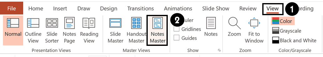 To navigate to your Notes Master, select the Notes Master command from the View tab in PowerPoint