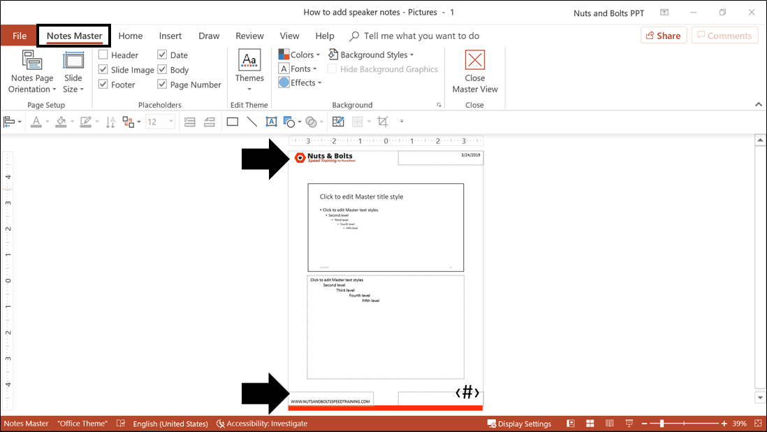 Example adding a company logo and company branding to the Notes Master