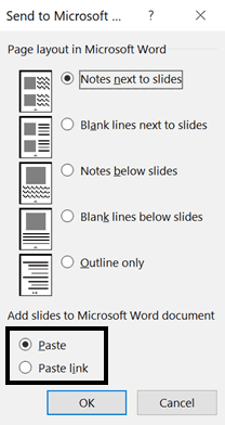Special note that the Paste Link option in the Send to Microsoft Word dialog box doesn't work