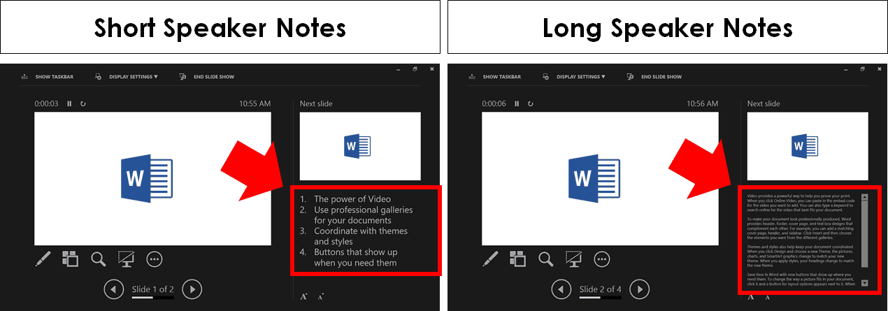 Comparison between long and short speaker notes