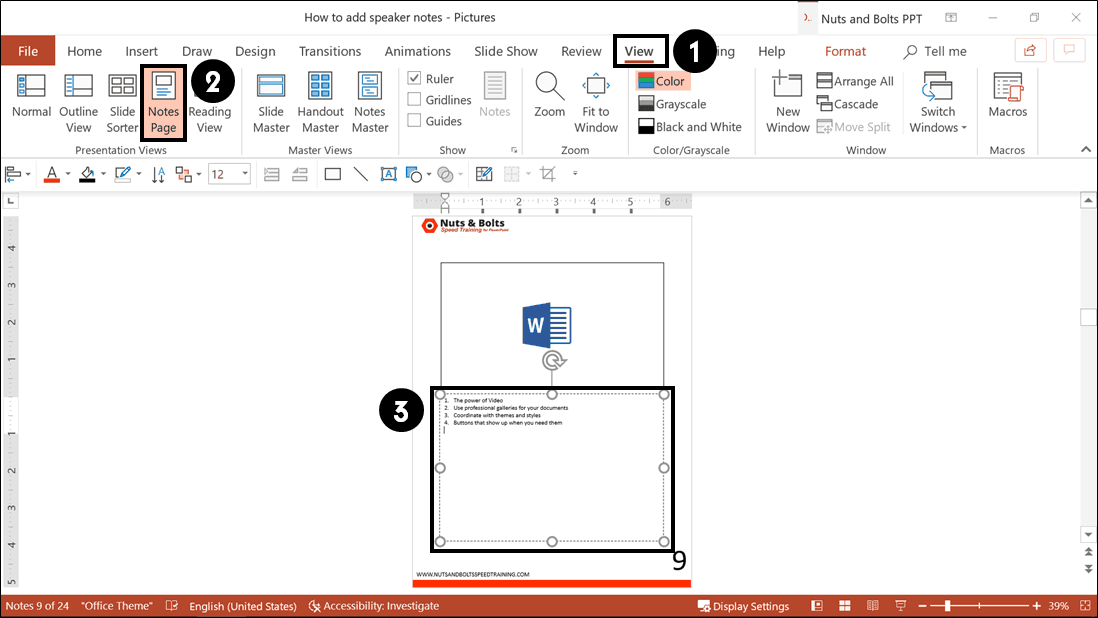 To open the notes page view in PowerPoint, from the View tab select the Notes Page command