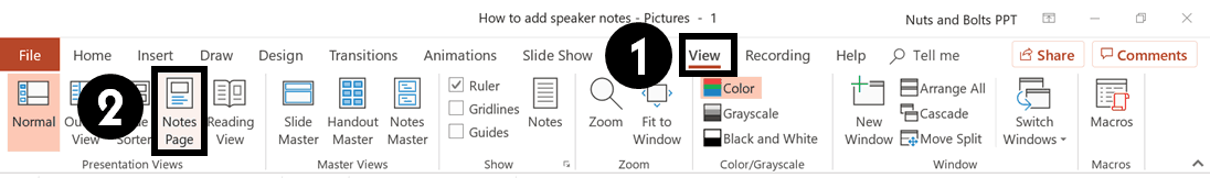 From the View tab in the PowerPoint ribbon, select the Notes Page