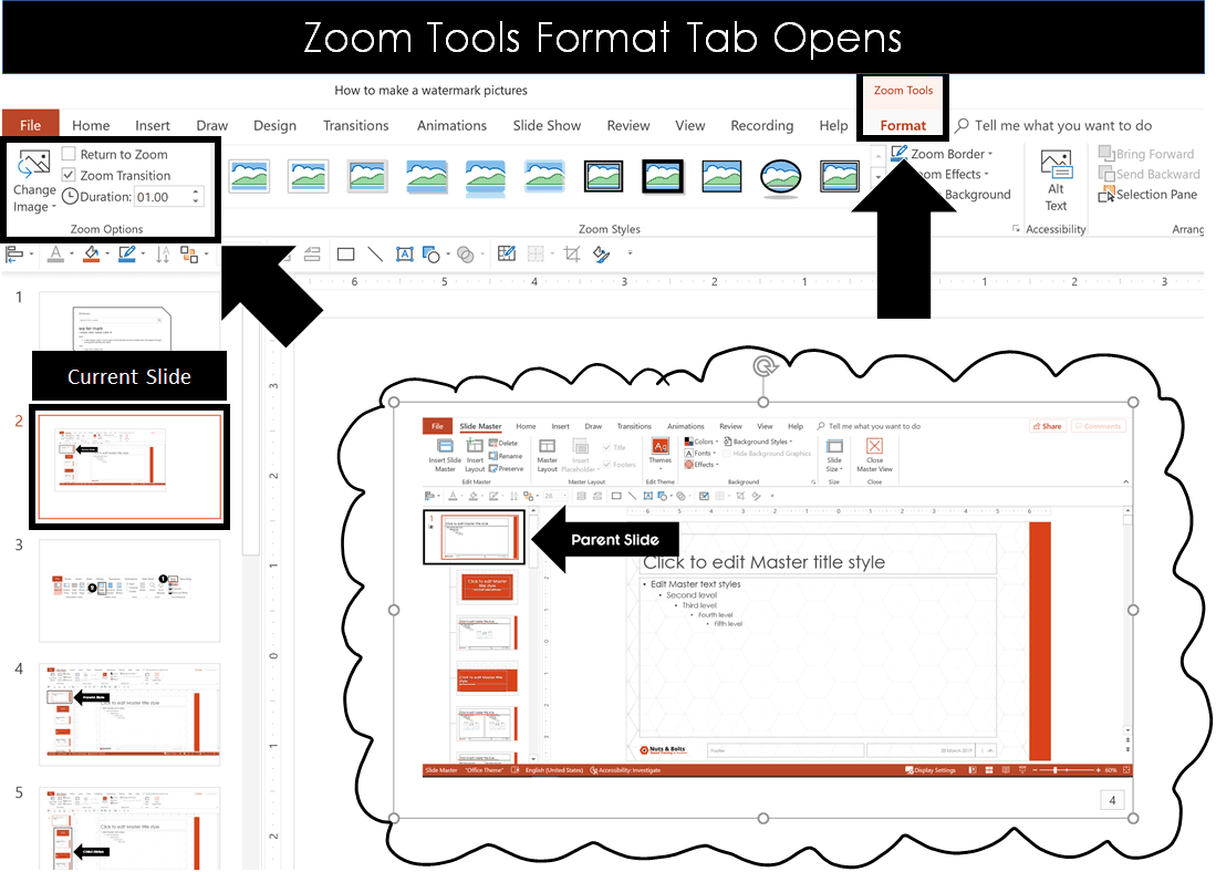 To adjust your zoom slide settings, from the Zoom Tools format tab make your select in the Zoom Options group