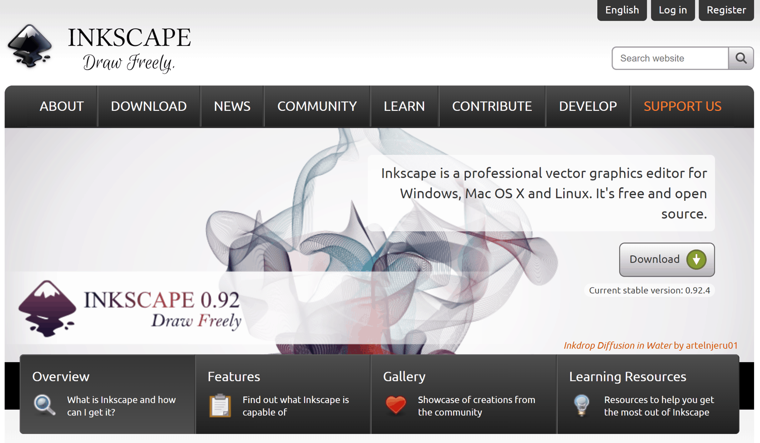 Visual of the Inkscape website