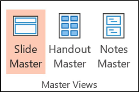 The three master views in PowerPoint are the Slide Master, Handout Master and Notes Master