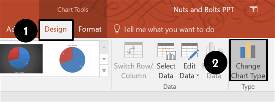 From the design tab select change chart type to change a chart