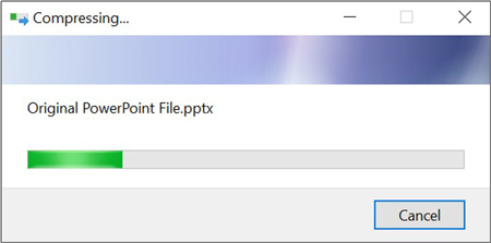 Example of Windows compressing a file in a ZIP folder