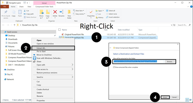 To unzip a compressed folder simply right-click the folder and select Extract All