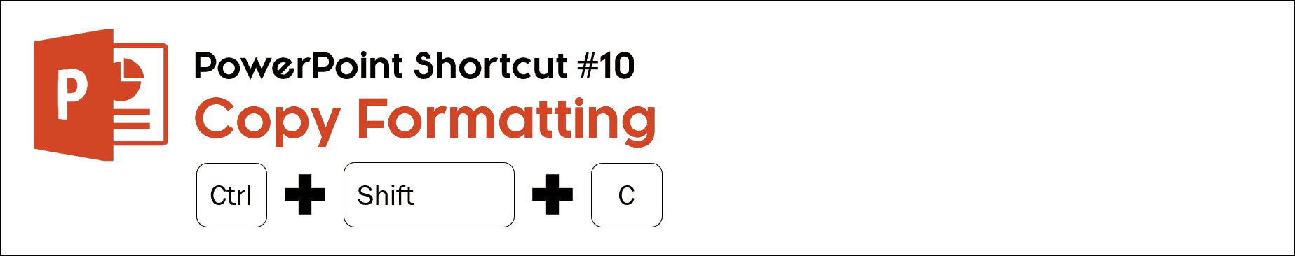 To copy an objects formatting in PowerPoint, select the object and hit control plus shift plus c on your keyboard