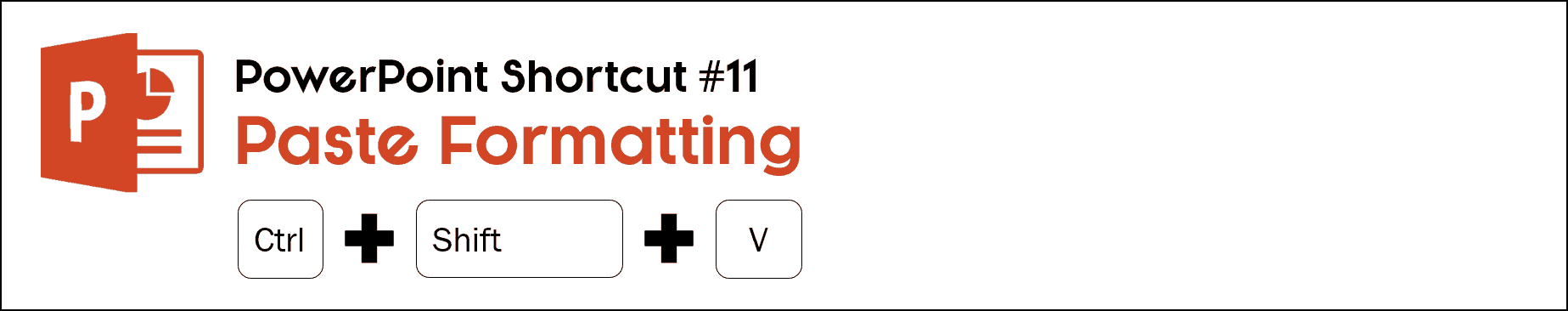 To paste copied formatting in PowerPoint, hit control plus shift plus v
