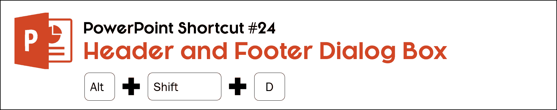 To open the header and footer dialog box in PowerPoint, hit Alt plus Shift plus D on your keyboard