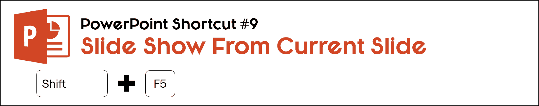 To start a slideshow from the current slide you are on in PowerPoint, hit Shift plus F5 on your keyboard