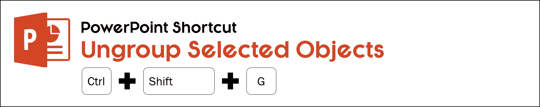 The ungroup shortcut in PowerPoint is control plus shift plus g on your keyboard