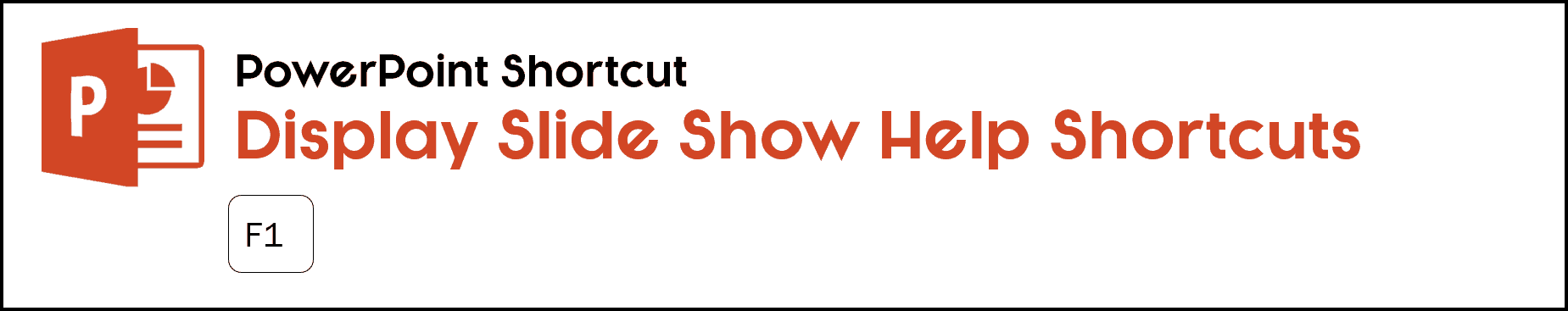 To display your slide show help shortcuts, hit F1 on your keyboard in slide show mode