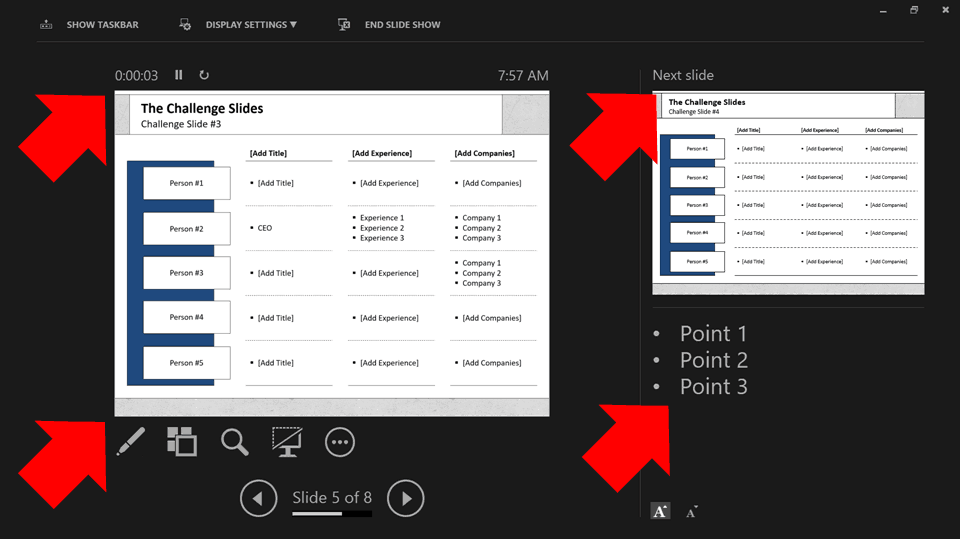Example of what the presenter view looks like in PowerPoint with presentation timings, speaker notes, etc.