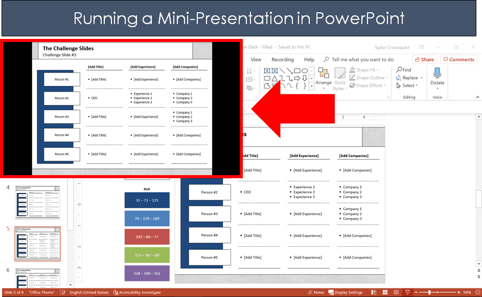 Example of a mini-presentation running over the top of your PowerPoint slide in the upper left hand corner of your screen