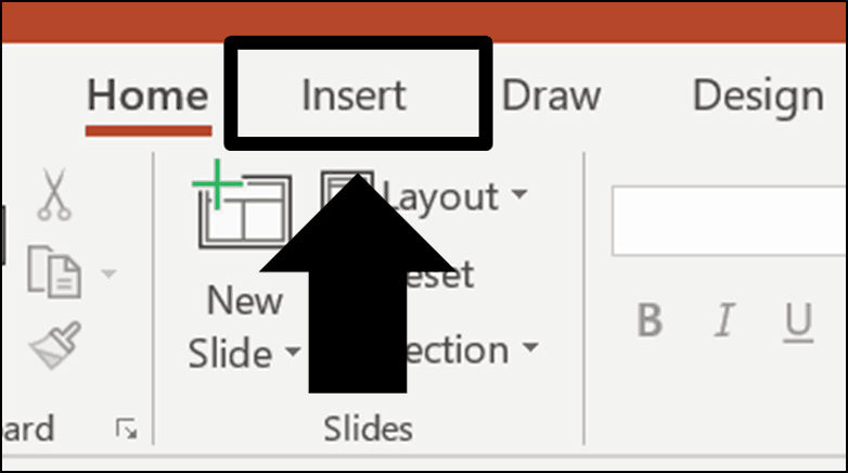 Click the insert tab in your PowerPoint ribbon