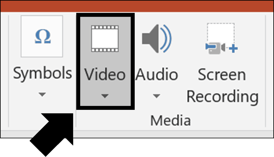 Click the video command in the Media group