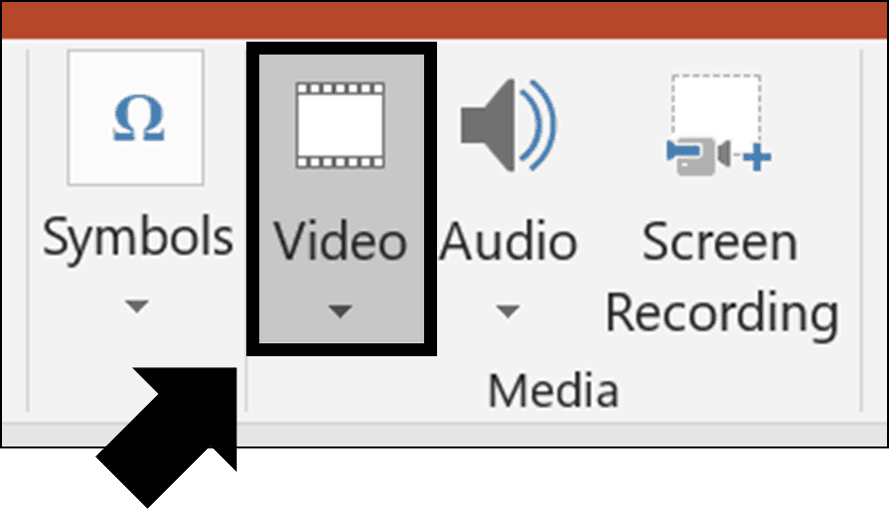 In the Media group on the insert tab, click the Video command