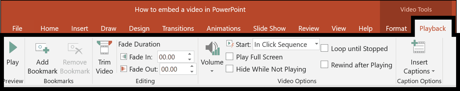 With your video selected, use the video tools playback tab to adjust how your video plays in your presentation