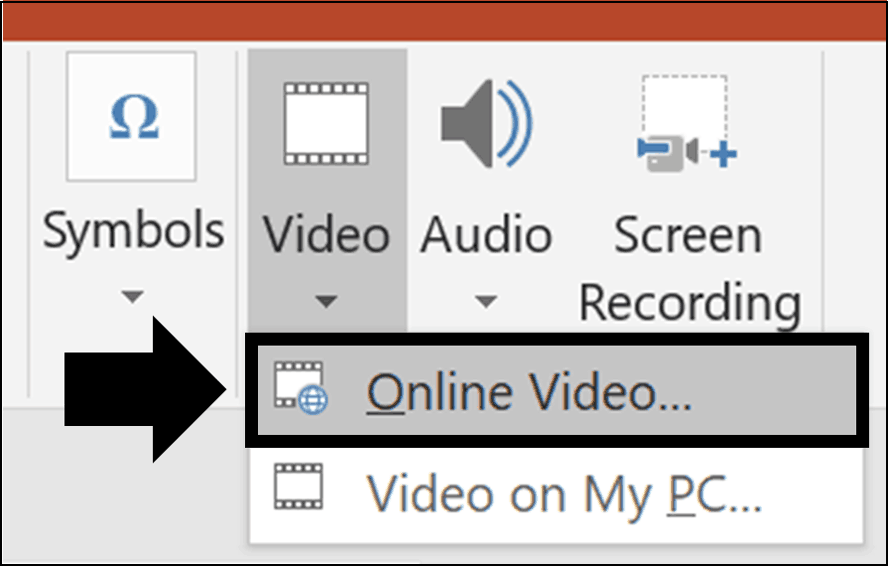 From the video drop down, select Online Video