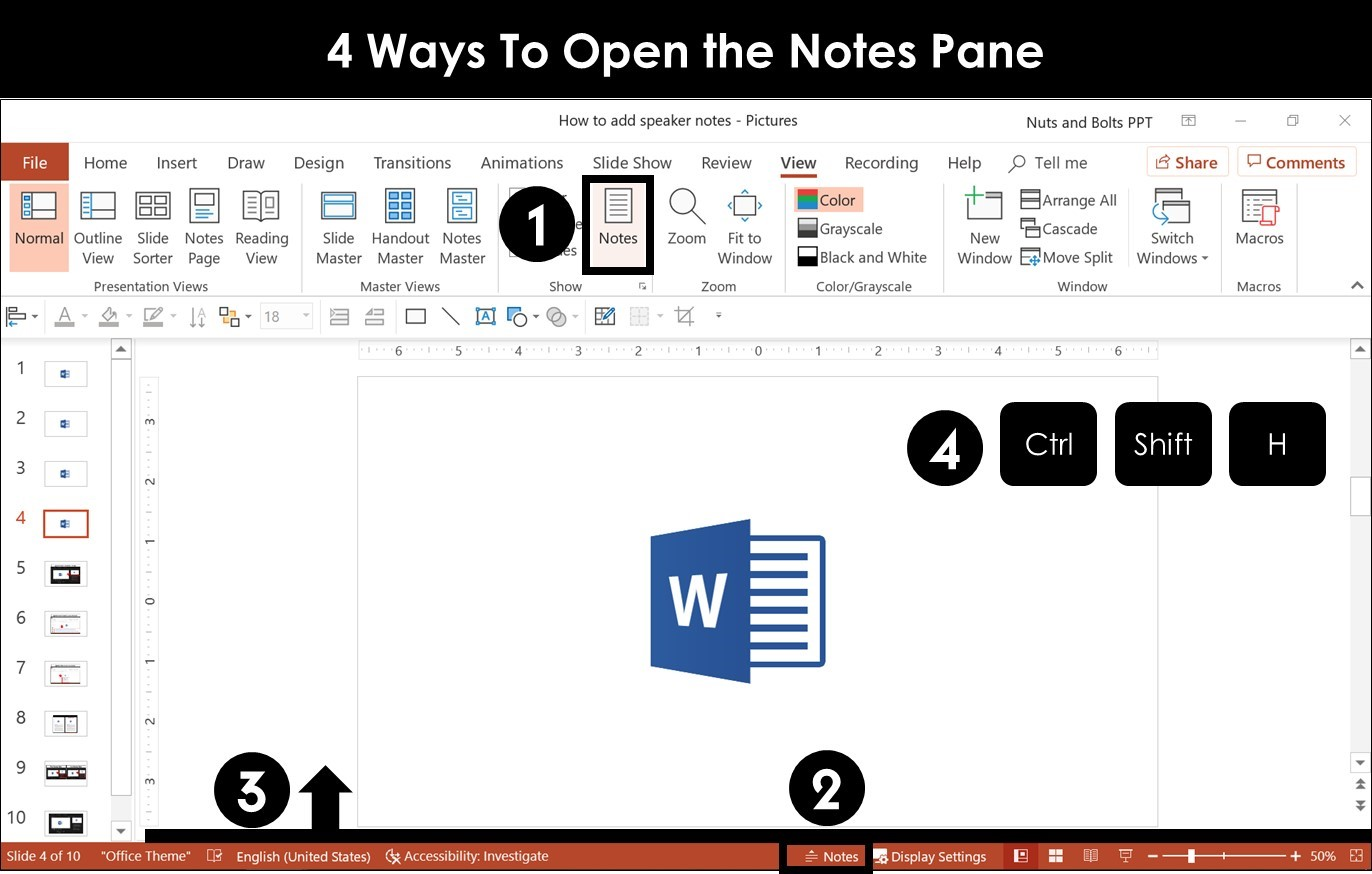 Picture of the four different ways to open the Notes Pane in PowerPoint