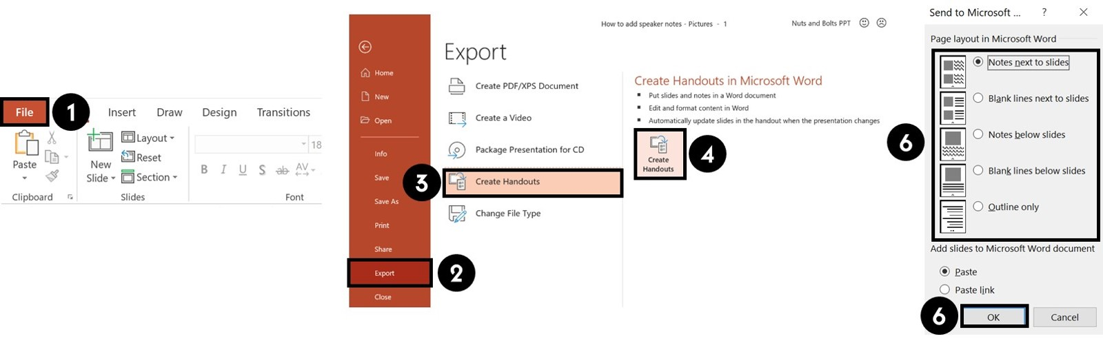 You can export your notes to Microsoft Word through using the Create Handout command