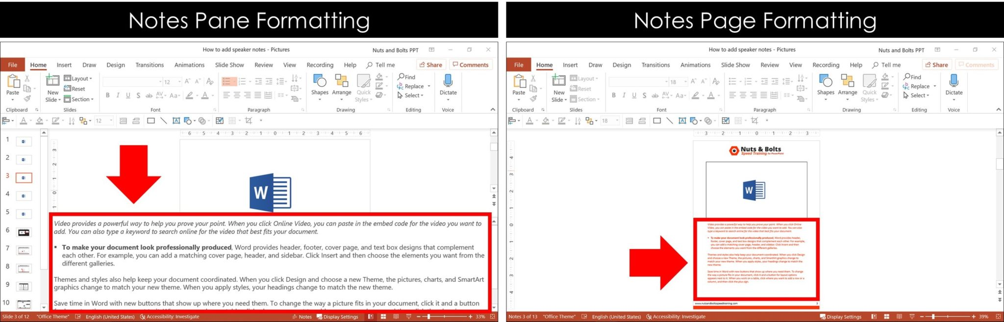 Comparison between what kind of text formatting appears in the Notes Pane view versus the Notes Page view