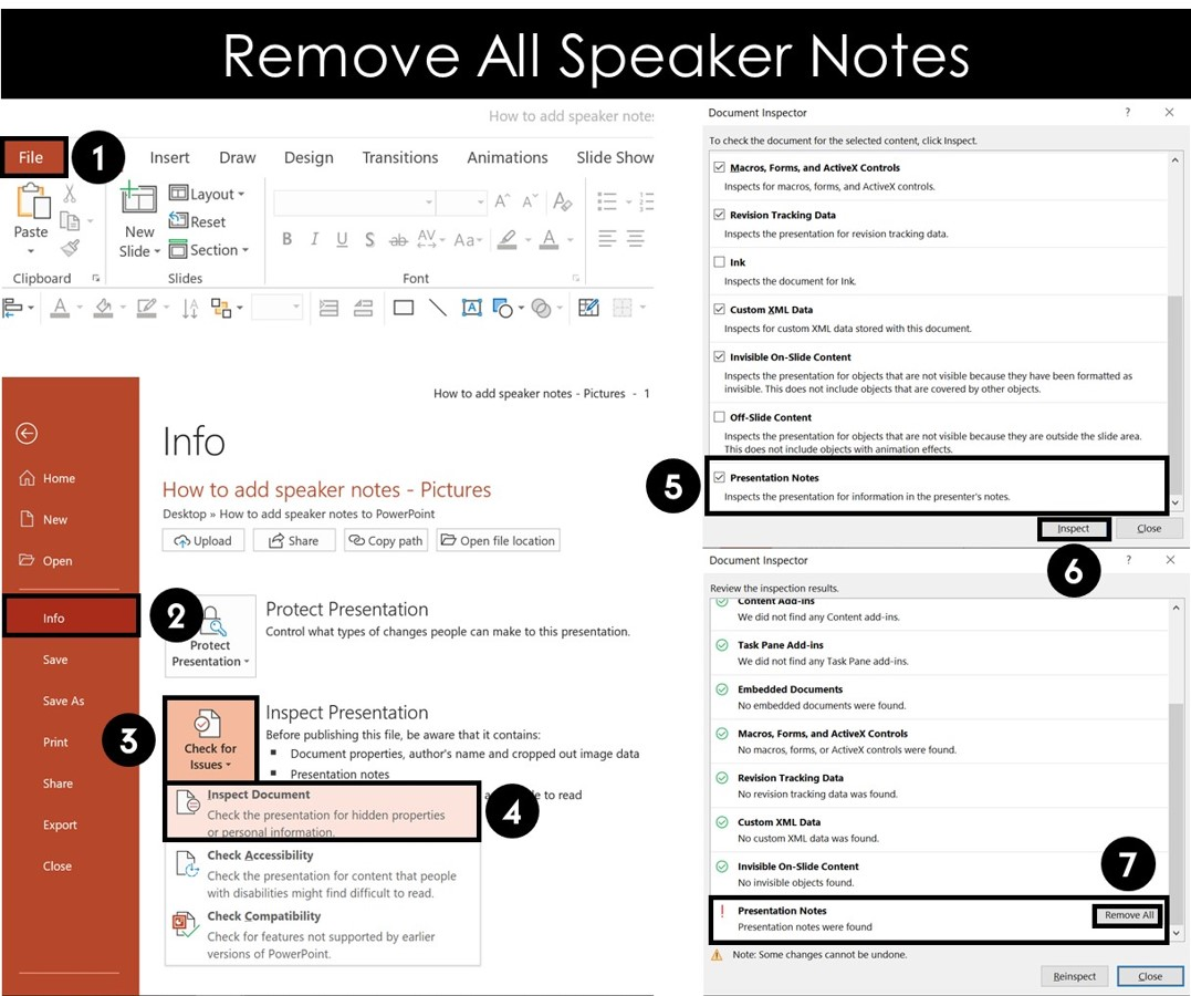 From the file menu, select info, check for issues, inspect document and remove all presentation notes