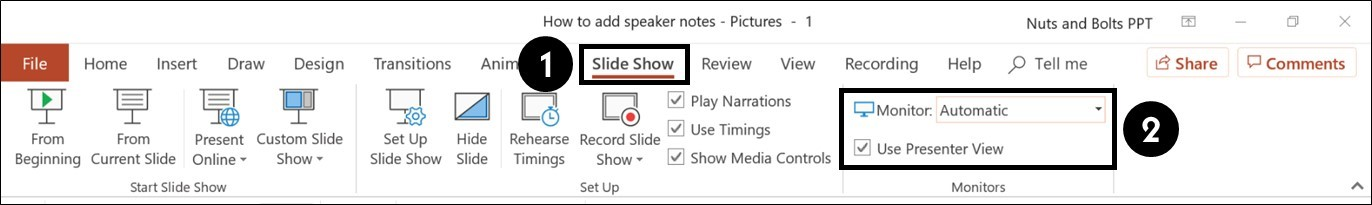 To set up the presenter view to run automatically, from the Slide Show tab select Use Presenter View